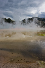 Champagne pool reflections (c@rljones) Tags: newzealand pool rotorua steam gas craters colourful geothermal stinky waiotapu thermalwonderland belial april2008 volanic status:move=0 httpwwwrljonescouk