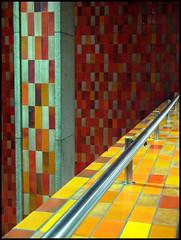 Station Rosemont ( CHRISTIAN ) Tags: orange art lines station architecture underground subway montral metro montreal mtro rosemont explore tiles lignes tuiles linescurves gwim