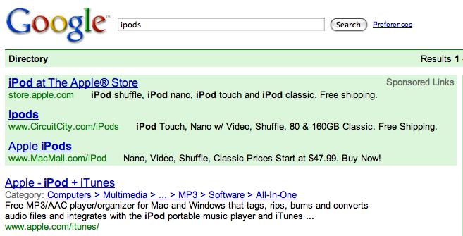 Google Green Ads and Nav