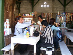 visitors in nearby shop/hotel borobudur