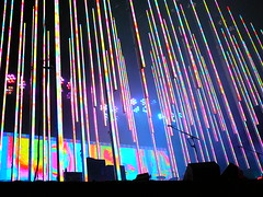 Radiohead - Malahide Castle, Dublin 6.6.2008 (streetspirit73) Tags: ireland dublin castle lights concert neon tour live eire panasonic rainbows radiohead 2008 malahide tz1