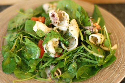 Marinaded squid salad
