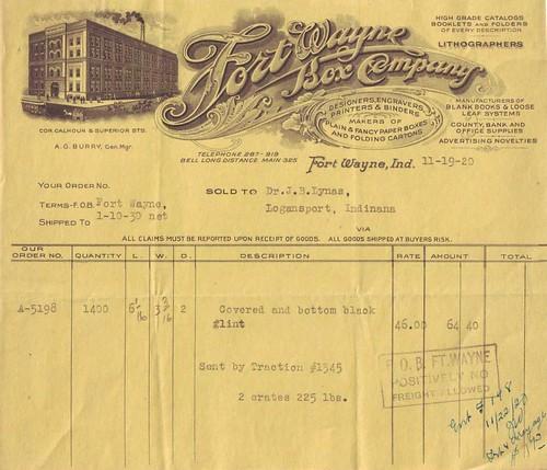 Fort Wayne Box Company Invoice