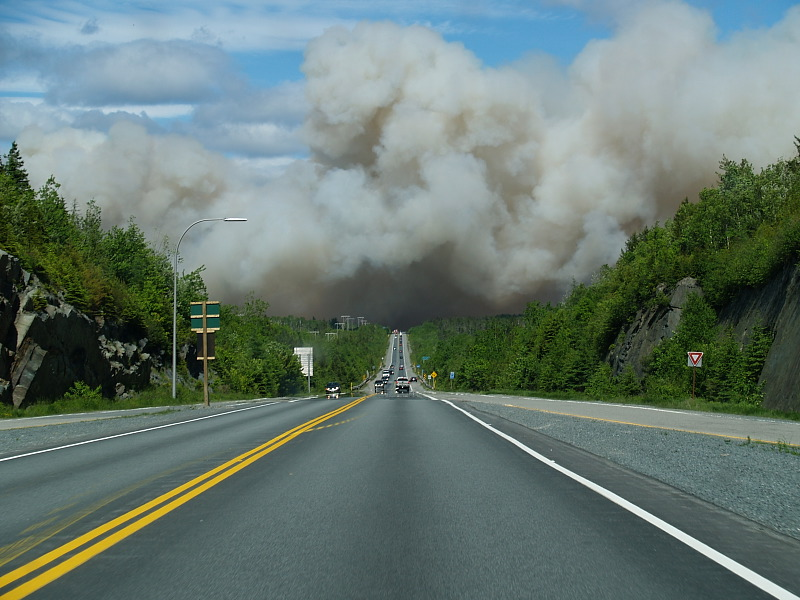 Smoke over highway 107