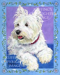 """""""Westie on Blue"""" AER83 by A E Ruffing West Highland Terrier"""