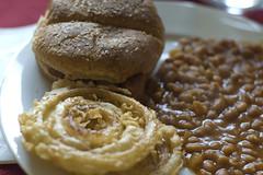 Baked Beans, Onion Rings, Veja-Link Sandwich