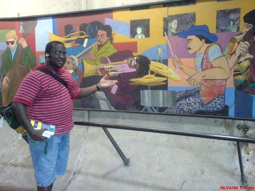 Wayne and a Metro mural drummer