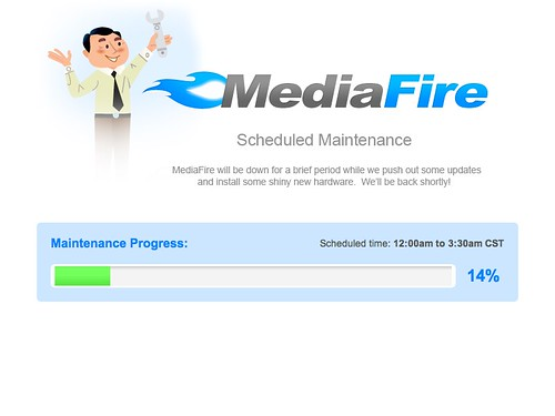 MediaFire Scheduled Maintenance Has Progress Bar