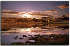 Haunted Lake 2 (DDA / Deljen Digital Art) Tags: uk england cloud sun lake reflection nature sunrise sand dunes ruin haunted northumberland alnmouth grasses marsh tidal seawater goldstaraward