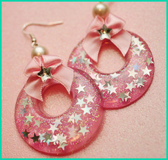 I'm Just A Girl hoop earrings (stOOpidgErL) Tags: pink glitter stars diy necklace handmade girly craft jewelry plastic bow pearl earrings resin hoops rhinestone pendant stoopidgerl
