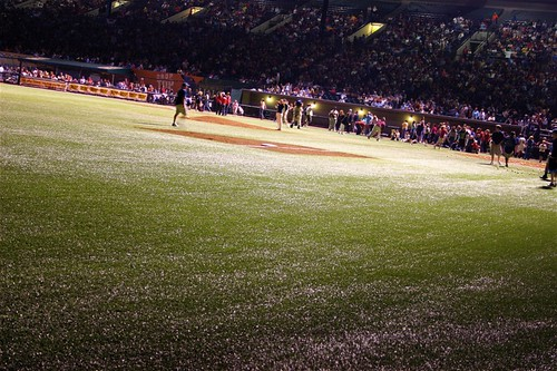 dew on the field at PGE Park