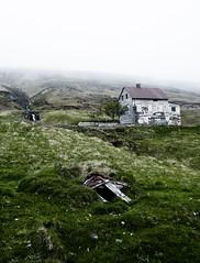 Illugastaðir (Sindri Jóelsson) Tags: house mountain cold green abandoned fog canon iceland stream raw decay farm hill dreary highland potato abandon shack barren ísland steep desat 400d illugastaðir þverárfjall
