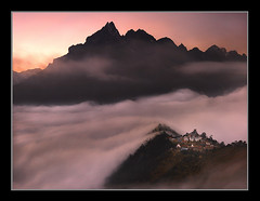 Monastery of the Clouds by Michael Anderson (AndersonImages) Tags: world china travel pink nepal sunset sea people mountain expedition clouds digital sunrise trekking trek religious liriver michael asia locals view earth guilin traditional culture peak monk tibet hasselblad anderson monastery planet medium format lonely local activity himalaya spiritual sichuan khumbu everest cultural traveler michaelanderson tengboche h2d himalatyas