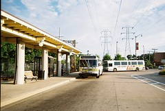 Suburban Pace buses at the CTA Dempster Street terminal. Skokie Illinois. July 2008.