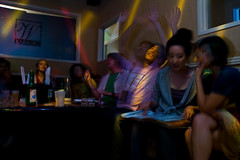 Yay, karaoke! (balrogs kill) Tags: amber blurry julie jenny photographers jim margaret karaoke soju shea koreatown hite lighttricks seanmarclee whitekaraokestudio