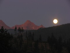 Moon over south Twin Sister mountain, view from Acme