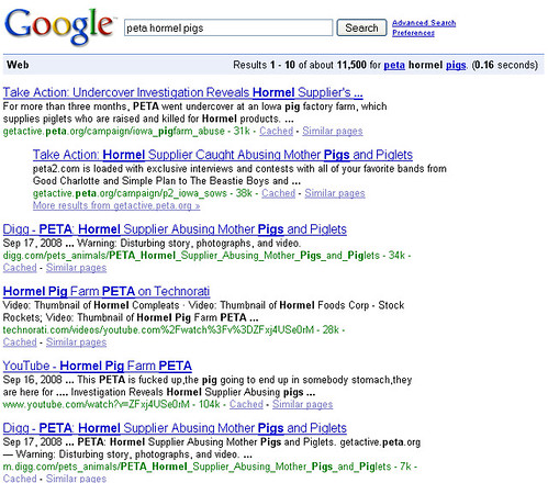 Google Search - PETA + Hormel + Pigs