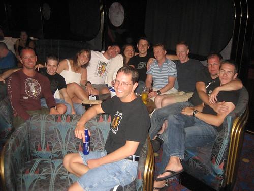 The gang at Society bar watching and doing Karaoke