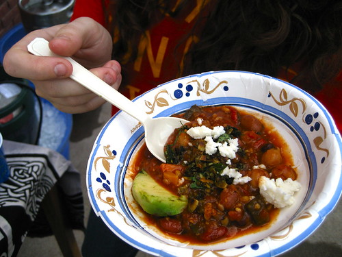 Hot as sin chili with avocado and farmer's cheese