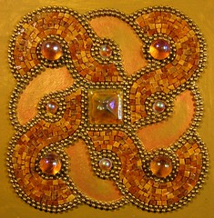 """""""Knot a Swirl""""  10/16/2008 (Lin Schorr) Tags: brown glass gold amber mosaic mixedmedia stainedglass swirl iridescent brass ballchain temperedglass linlee linlee8 linschorr celticchain"""