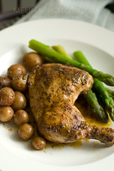 chicken dinner delight (mwhammer) Tags: orange brown white green chicken dinner gold juicy soft meat thigh homemade asparagus drumstick organic simple seated savory wholesome roasted dinnerforone hearty propstyling satisfying foodstyling melinahammer stwfeedbackplease rosepotato