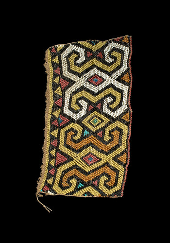 //Bead Panel// from a baby carrier, Basap people, Borneo 19th century, 26 x 15 cm. From the Teo Family collection, Kuching. Photograph by D Dunlop.