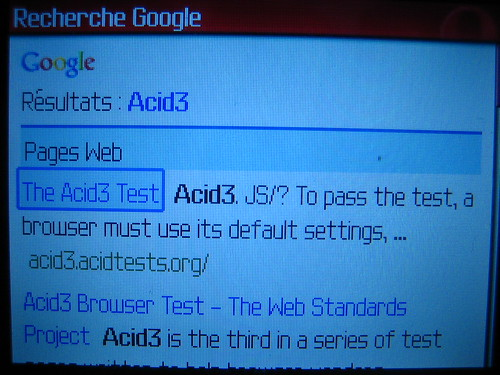 Test Acid3 sur Opera Mini - Blackberry Curve 8310 1