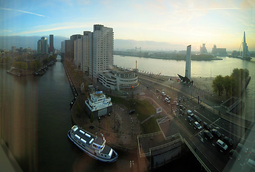 14 image photomerge of Wijnhaven, Rotterdam, the Netherlands