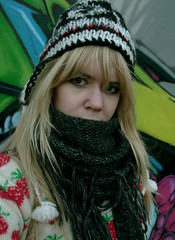Out and about (ingridesign) Tags: portrait selfportrait colour ingrid me girl face hat scarf self leeds blonde colourful outandabout bigscarf
