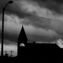 dark times (leafy) Tags: bw church lamp silhouette clouds fence dark pittsburgh cross steeple pa powerlines superfantastique rankin braddock stretlight
