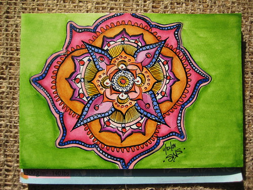 Watercolor and India Ink Mandala