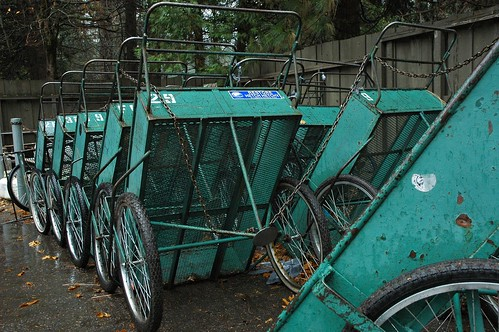 Old green laundry carts, Yosemite National Park, California, USA by Wonderlane