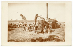 Life In The Country: Threshing The Wheat (c.1910) (postaletrice) Tags: people france field sepia work geotagged countryside trabajo gente postcard wheat country grain working cereal champs harvest machine steam strasbourg travail alsace vintagepostcard campo labour strasburg cosecha postal agriculture collaborative francia collaboration vapor peasants champ gens estrasburgo peasant trabajando trigo mquina thresher threshing strassbourg bl campesinos campesino agricultura paysan cartepostale cpa basrhin trilladora trillar paysans rcolte vapeur agricole agrcola batteuse rppc tarjetapostal realphoto crale alsacia strossburi fenaison battage cartepostaleancienne travaillant postalantigua geo:lon=769 trillando geo:lat=485722