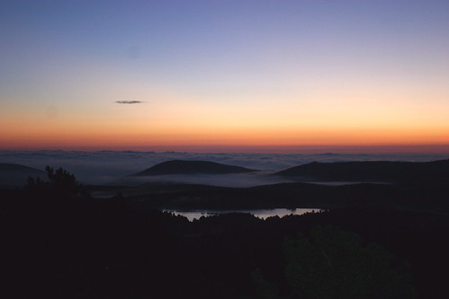 Gold Lake in the fog at sunrise