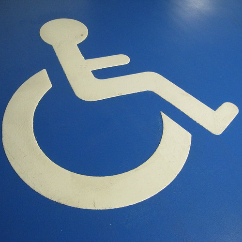 Handicapped parking sign painted on the floor. CDG airport