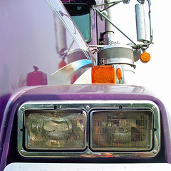 Run over by a truck (StGrundy) Tags: atlanta usa detail window closeup truck reflections georgia mirror purple sony south roswell perspective headlights semi southern fender chrome 18wheeler kenworth bigrig catchycolorspurple aircleaner turnsignals dsch2 platinumheartaward goldstaraward