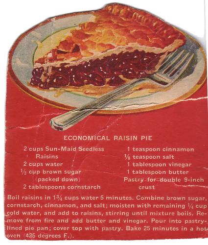 Joy Of Desserts Vintage Recipe Raisin Pie