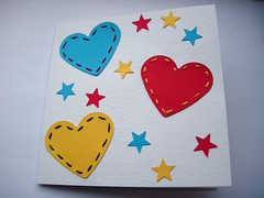 Handmade Valentine (Vicki Brown Designs) Tags: blue red love yellow stars blog heart handmade card valentines stitching