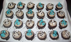 Cookies 'n Cream Minis with Initials (cupcakeology) Tags: party cupcakes engagement monogram albuquerque cupcake oreo initial cupcakeology