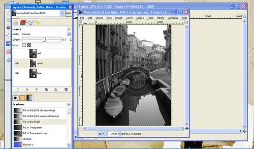 Boats in Venice GIMP tutorial