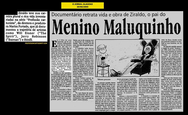 """""""Menino Maluquinho"""" - O Jornal Alagoas - 20/06/2003"""