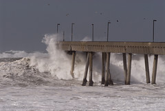 waves breaking on pacifica pier