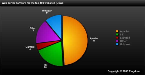 Web server software for the top 100 websites in the US