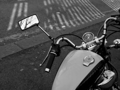 It's Hard to Be a Saint in the City (pietroizzo) Tags: light shadow blackandwhite reflection mirror tank motorcycle yamaha virago