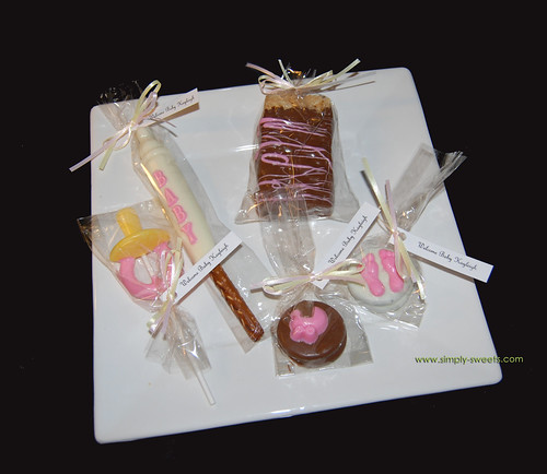Welcome Baby Kayleigh chocolate baby shower favors
