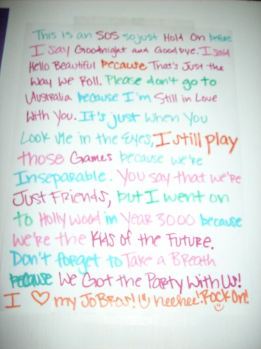 "Jonas Brothers Songs ""Story"" by Justin Bieber=My Hearttt:) (Sarah"