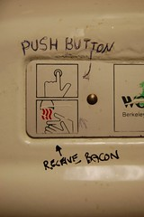 push button; (ethan_hall) Tags: tacobell dryer water hands bacon massachusetts grafitti marker black messy white nikon d40 pen button anawesomeshot taco bell written ink handwriting rust ethan saw this run world hand paper bathroom toilet restaraunt food place tags tag tagged gang really funny lol laugh good sweet awesome