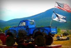 Ready for the ride home (Denise ~*~) Tags: blue usa mountains newmexico 4x4 flag trailer nm mudbog mudding questa top20nm mudtrucks mudbogg