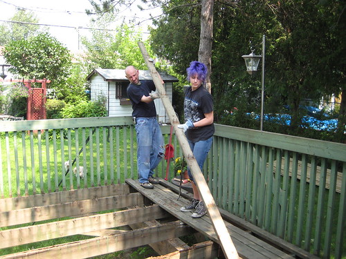 Chris & Cleo working on rebuilding the deck 2008 - 2
