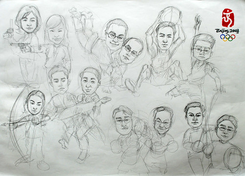 Group caricatures for Microsoft Korea Team pencil sketch